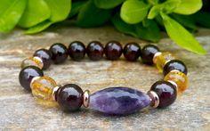 Mens Mala Bracelet, Mens Yoga Jewelry, Purple Amethyst, Red Garnet, Yellow Citrine, Gemstone Stretch Stacking Yoga Jewelry, Protection