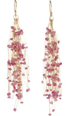 Nina Bukvic Pink Sapphire Chandelier Drop Earrings
