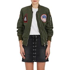 Ottotredici Women's Patch Cotton Twill Bomber Jacket ($585) ❤ liked on Polyvore featuring outerwear, jackets, blouson jacket, crew jackets, multi coloured jacket, military flight jacket and military jacket
