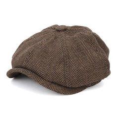 Men Visor Woolen Blending Newsboy Beret Caps Flat Hats 031cc2b988c4