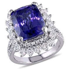 Miadora Signature Collection 14k White Gold Tanzanite and 1 3/4ct TDW Diamond Cocktail Engagement Ring