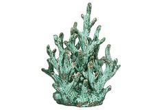 "16"" Ceramic Coral Decoration, Green on OneKingsLane.com"