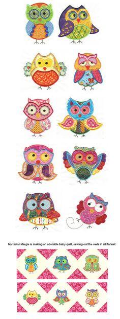 Designs by JuJu owls applique machine embroidery designs. Love those kooky guys! Owl Applique, Machine Embroidery Applique, Free Machine Embroidery Designs, Applique Patterns, Applique Quilts, Applique Designs, Hand Embroidery, Quilt Patterns, Dac Diy