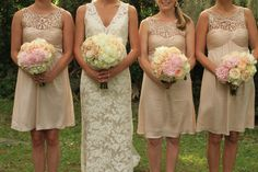 CUTE champagne bridesmaid dresses-but in grey