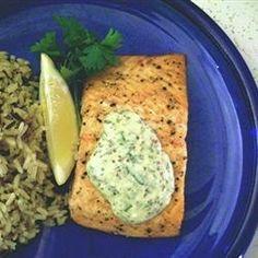 Grilled salmon with lemon, tarragon, and garlic sauce
