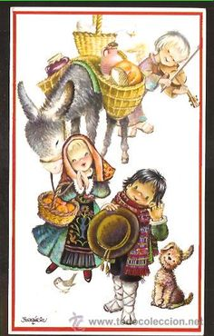 FELICITACION NAVIDAD FERRÁNDIZ  AÑO 1959 -R64 Susan Wheeler, Spanish Painters, Holly Hobbie, Tole Painting, Vintage Christmas Cards, Big Eyes, Nativity, Folk, Xmas