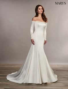 Off the Shoulder Trumpet Wedding Dress . 30 Off the Shoulder Trumpet Wedding Dress . Wedding Dress Trends for Spring 2019 Wedding Dress Trends, Bridal Wedding Dresses, Dream Wedding Dresses, Mary's Bridal, Wedding Gowns With Sleeves, Long Sleeve Wedding, Bridal Skirts, Perfect Prom Dress, Marie