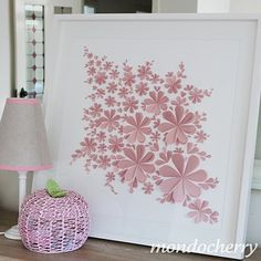 cute art made out of heart shaped paper for a little girls room!