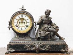 Antique Ansonia Arion Figural Victorian Mantle Classical Cavalier Statue Clock #Ansonia