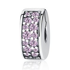 925 Sterling Silver Pink Purple Clear Safety Stopper Austria Crystal Spacer Clips Bead Charms Fit Original Pandora Bracelets