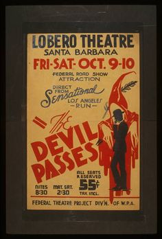 """silhouette figure /// """"The devil passes"""" Federal road show attraction : Direct from sensational Los Angeles run."""