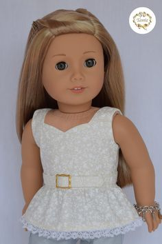 """American Girl Doll Clothes """" Peplum Blouse With Belt """""""