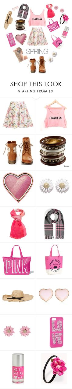"""Spring Rocks in PINK!!!"" by aals2 ❤ liked on Polyvore featuring Steve Madden, Too Faced Cosmetics, Daisy Jewellery, Burberry, Victoria's Secret PINK, Aéropostale, Jennifer Ouellette, River Island, Accessorize and Forever 21"