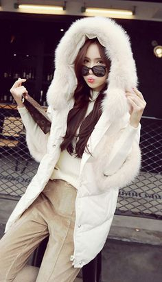Fashiontroy Street style long sleeves white black hooded fox fur trimmed down coat
