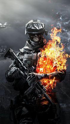 #Battlefield 3 #Skulls #Fire Soldier #iPhone #Wallpaper
