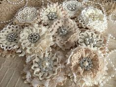5 shabby chic vintage lace handmade flowers by PinKyJubb on Etsy Lace Flowers, Crochet Flowers, Fabric Flowers, Shabby Flowers, Shabby Chic Embellishments, Burlap Projects, Lace Doilies, Flower Tutorial, Handmade Flowers