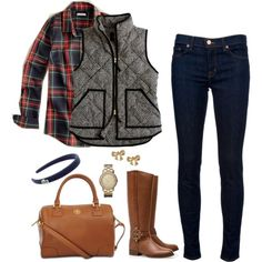 """Mixing Fall Prints"" by southern-and-preppy on Polyvore I love the plaid shirt & vest combo!"