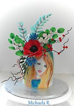 Hand painted flower lady - cake by Mischell Hand Painted Cakes, Cakes For Women, Girl Cakes, Woman Painting, Cakes And More, Cake Art, Lady Cake, Cake Decorating, Planter Pots