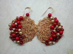 base crochet con filo di rame e ottone lavorati insieme, ricamo con perle di resina,vetro,cristallo e perla di fiume♥ bijouxcarmenvecam...