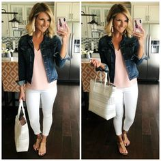 Blush Top with White Jeans and Sam Edelman Sandals // Easy outfit you can try ri. Mode Outfits, Fall Outfits, Fashion Outfits, Womens Fashion, Spring Outfits Travel, Ladies Fashion, Fashion Trends, Early Spring Outfits, Fashion Ideas