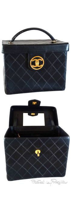 Regilla ⚜ 1980's Chanel Black Quilted Lambskin Vanity Cosmetic Case
