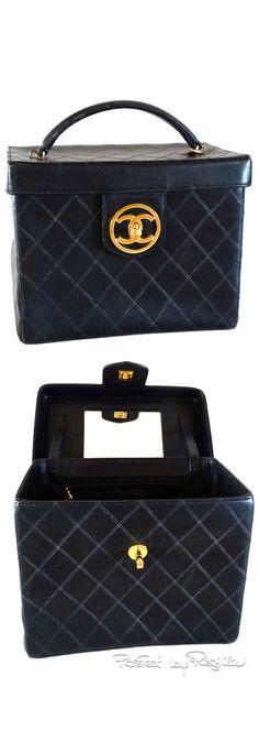 Regilla ⚜ 1980's Chanel Black Quilted Lambskin Vanity Cosmetic Case
