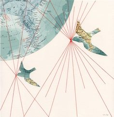 CUSTOM ORIGINAL Embroidered Map Collage Birds Travel Gift Geography 10 x 10 - Birds by selflesh. $100.00, via Etsy.