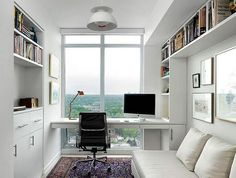 10 Fantastic Home Office Decorating Ideas - Decorating a home office can be tricky. Create a workable home office t Small Space Office, Office Space Design, Home Office Space, Home Office Furniture, Home Office Decor, Office Ideas, Office Designs, Workspace Design, Small Spaces