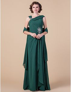 Sheath/Column Straps Floor-length Chiffon Mother of the Bride Dress With A Wrap - USD $ 179.99