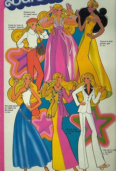 """1970's Barbie - pretty sure the one in the top row-middle was the first """"pretty in pink"""" Barbie I had and she came with a stand that I could pose her in."""