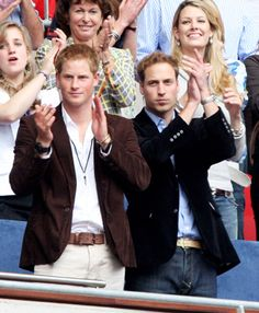 Prince William, right, and Prince Harry watch the Concert for Diana at Wembley Stadium on July 1, 2007, in London.