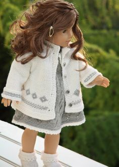 Knitting patterns for dolls clothes-simple, timeless elegance in grey and white