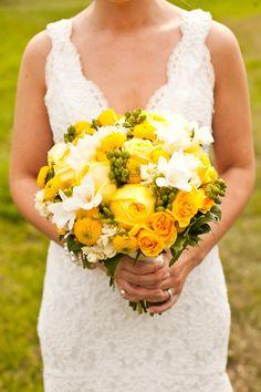 Yellow roses, button mums, white freesia... farm fresh!