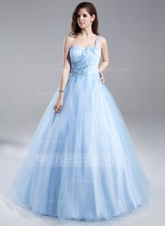 Ball-Gown One-Shoulder Floor-Length Tulle Quinceanera Dress With Ruffle Beading Appliques Lace (021015868) - JJsHouse