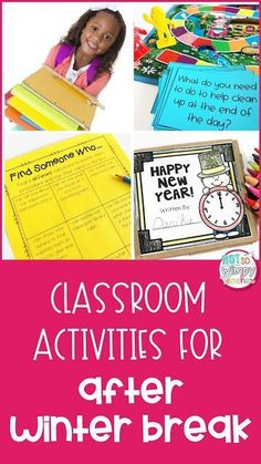 Before you leave for winter break, grab these free activities for that first day back to school after Christmas! Students will write about their New Years goals and resolutions, practice classroom procedures, get organized and share with their classroom family!