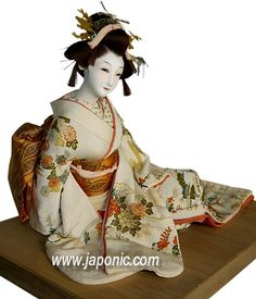 Japanese antique doll, OG-253 Japanese doll of a bride in wedding kimono, 1930's, doll for sale by Samurai Art Collection. Please see link for more info/photos!