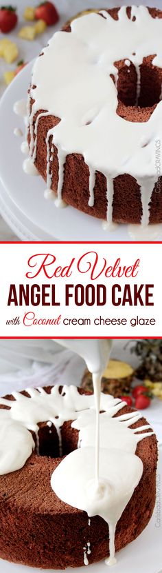 Perfect for Valentines! EASY light airy Red Velvet Angel Food Cake with the most INCREDIBLE Coconut Cream Cheese Glaze. This cake looks fancy (perfect for company or special occasions) but takes less than 20 minutes to make! #redvelvet #angelfoodcake #valentinesdesserts #redvelvetcake