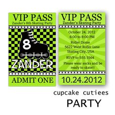 Skating Roller LIME blades VIP Boys Invitations CUstOM Digital Lanyard Badge Inserts Personalized PRINTABLE. $12.00, via Etsy.