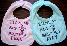 Personalized I Love My Big Sister or Brother Baby Bib.  Great Gift Idea.. $7.50, via Etsy.