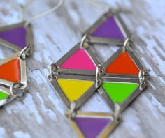 Geometric Colorful Silver Dangle Earrings by Cheshujewelry on Etsy, $14.00