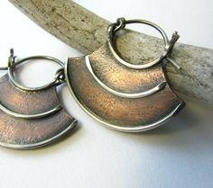 Rustic Contemporary Tribal Earrings Sterling Silver by Mocahete