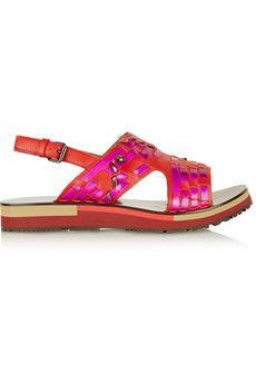Lanvin Holographic woven leather sandals | NET-A-PORTER loooove
