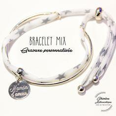 Bracelet MIX jonc et liberty - Gravure sur mesure : Bracelet par chimere-melancolique