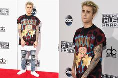American Music Awards 2015: Justin Bieber Keeps It Casual in Nirvana T-Shirt and Ripped Jeans #Intense