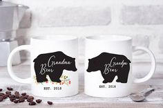 grandma mug, bear mug, promoted to grandma, family mug, grandma coffee mug, grandmother mug, papa bear, mama mug, grandpa mug, mama bear mug, grandma bear, pregnancy reveal mug, grandparent mug  This cute design will be printed on best quality Grade A fully white Mugs or Mugs with black handle. If you prefer, we can print design on one side and special message on the other side. Kindly specify in order notes. We use dye sublimation and heat transfer technique to print the design on the mugs…