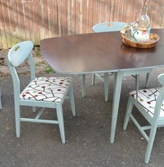 Mid Century Modern dining set - top was stripped and refinished, bottom and chairs were painted in Sweet Mint, chairs were reupholstered