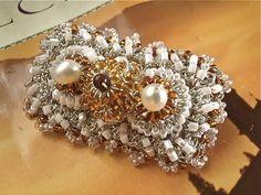 Art Deco Brooch / Gold Silver Crocheted / Rectangle / by sukran,