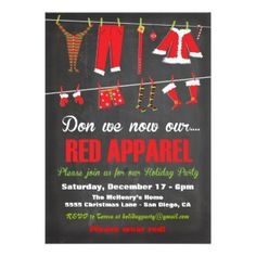 Don we now our Red Apparel - A fun Christmas party invitation to have your friends and family wear a little red :-)