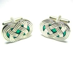 Sterling Silver & Green Celtic Irish Eternity Knot Cufflinks w/ Gift Box CuffCrazy. $59.99. Free Gift Box Included!. Great for any formal attire!. Money Back if not 100% satisfied