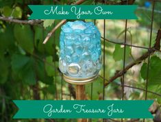 Make your own garden treasure jars. These look great in the garden and are fun for the kids too.